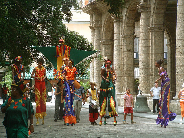 A carnival outside a historic building in Old Havana - Image : Matt Northam
