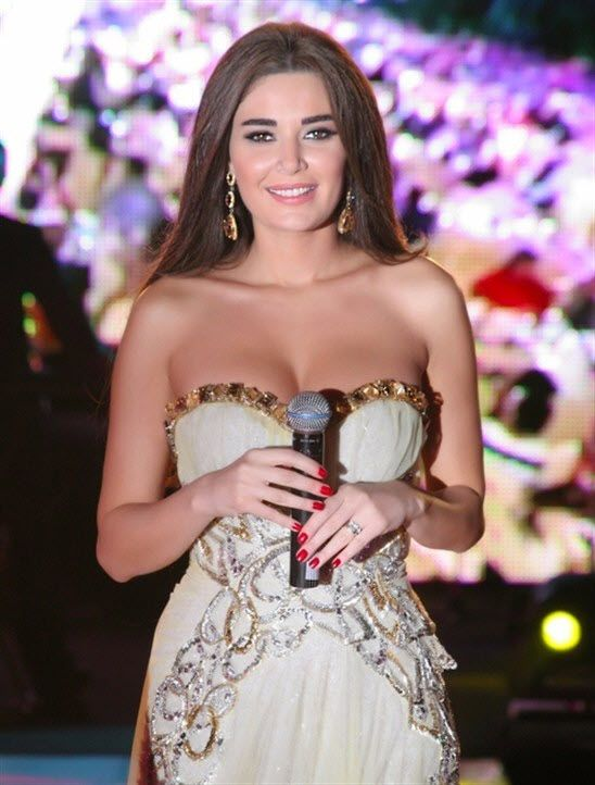 The glamorous Cyrine from Lebanon in a singing performance