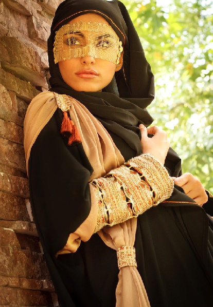 The traditional and modest Islamic culture is reflected from the woman's wear in Qatar
