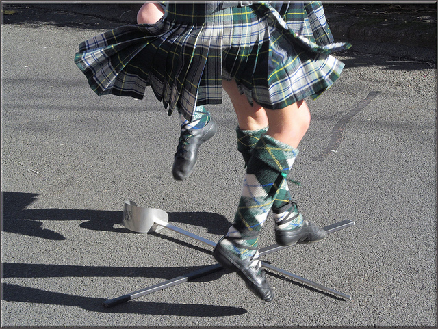 The traditional Scottish sword dance is presented in the festive events today. Photo by malansjan