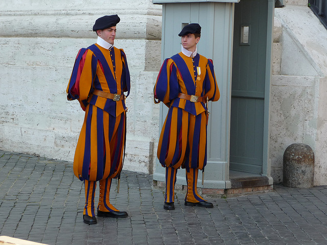 Two Vatican guards in traditional uniform. Image by BIGtrip
