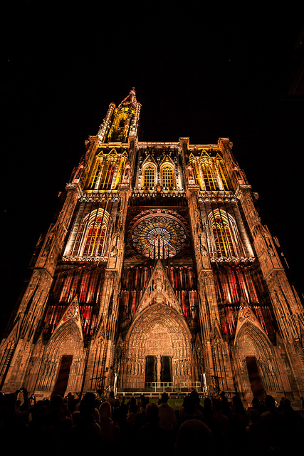 Strasbourg cathedral at night by cmozz
